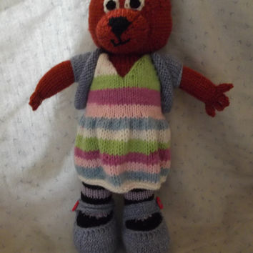 Lola Foxx - toy fox with two outfits - knit plush fox