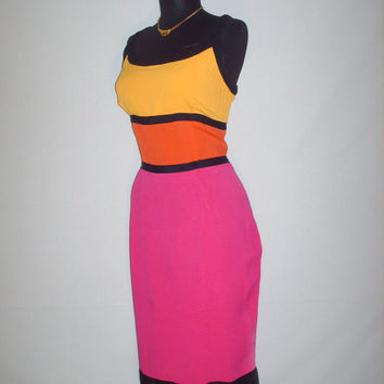 Vintage 1990s Color Block Dress Set