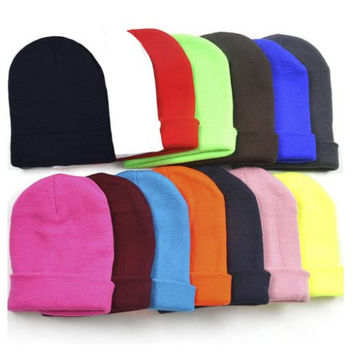 28 Colors Drop Shipping New 2016 Fashion Knitted Neon Women Beanie Girls Autumn Casual Cap Women's Warm Winter Hats Unisex