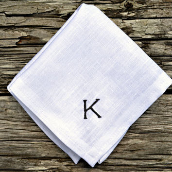 Monogrammed White Linen Pocket Square, Personalized Hankerchief, Embroidered Hankie, Irish Linen Monogram Pocket Square, Mens Hankerchief