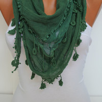Women  Green Cotton Shawl Scarf - Headband - Cowl