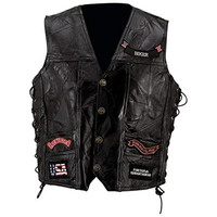 Diamond Plate Mens Buffalo Leather Laced Sides Vest