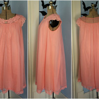 Vintage 1960s 60s Womens Coral Pink Nylon Nightie Lace Trim Girly Cute Size Small by Shadowline