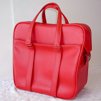 Samsonite Red Tote - Vintage Travel Bag / Weekender