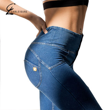 CHRLEISURE S-XXL 4 Color High Waist Jeans Denim Women Plus up Jeans Super Stretch Skinny Jeans American Apparel