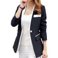 Women Single Button Blazer Long-Sleeve Slim Blazer