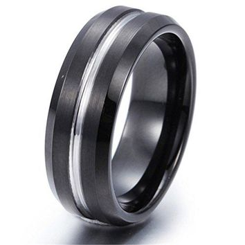 8mm Black Tungsten Carbide Ring Tunnel Wedding Engagement Promise Band