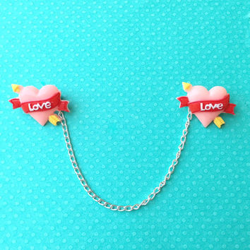 """Valentine's Day """"Valentine's Heart"""" Large Pink Heart Collar Clips or Sweater Guards"""