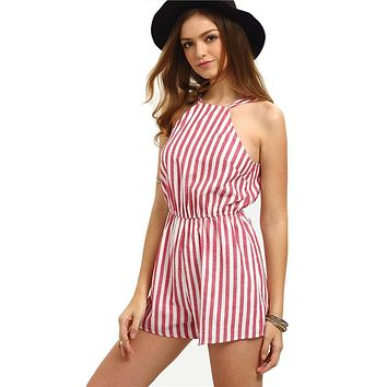 Summer Style Beach Rompers Women Jumpsuit Ladies Sexy  Stripe Backless  Rompers