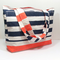 Extra Large Navy Blue and Coral Stripe Beach Bag
