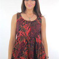 Vintage 90s grunge boho hippie red tropical mini dress