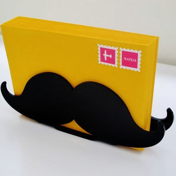 Mustache Letter Holder, Black Desk Organizer, Desk Caddy, Desk Accessories, Home Organization, Hipster Home Decor, Gift For Him