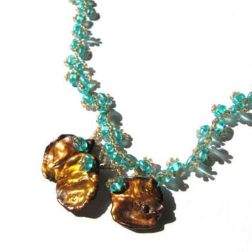 Teal Beads and Bronze-gold Keshi Pearl Beadwork Necklace