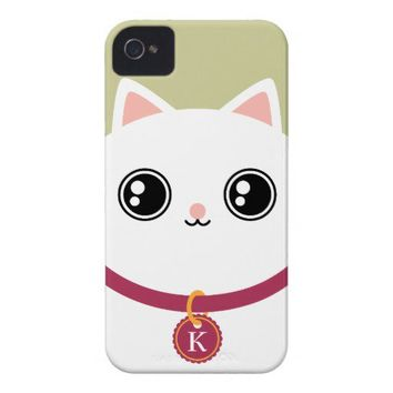 White Kawaii Kitty Cat Face Custom Name Monogram Case-Mate iPhone 4 Case from Zazzle.com