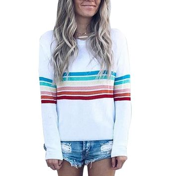 Striped Sweatshirt Women Rainbow Pullover 2018 Autumn Winter Fashion Top Sweatshirts Long Sleeve Plus Size 4XL Hoodie Tracksuit