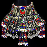 Big Afghan Tassels Kuchi Choker Necklace Ethnic Tribal Jewelry Dance Boho Gypsy