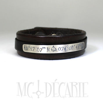 Leather bracelet 2 colours with sterling silver plate, 20 mm wide personalized bracelet with coordinates black and brown leather cuff