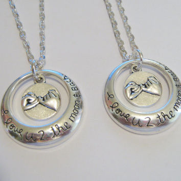 2 I Love U 2 The Moon & Back Pinky Promise Necklaces BFF SISTERS COUPLES