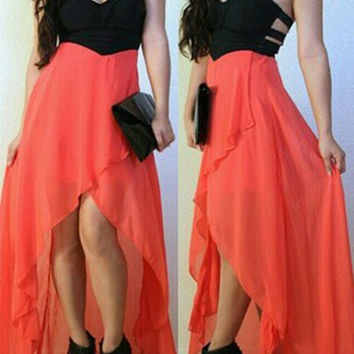 Orange and Black Strapless Cut Out Asymmetrical Dress