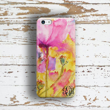 Gifts for best friend, Floral Iphone 6 case, Monogram Iphone 5 case, Personalized iPhone 5c case, Flowers iPhone 4 case, Yellow pink (1398P)