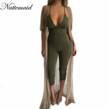 Women jumpsuits rompers 2016 Summer Cotton Tight fitted Rompers Long Pants Drop V neck Bodysuit Women Purple Overalls Bodycon