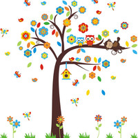 "Owl and Monkey Wall Decal, Woodland Wall Decal, Forest Wall Stickers, Cute Wall Decals for Baby Nursery, Large Tree Decal - 90"" x 84"""
