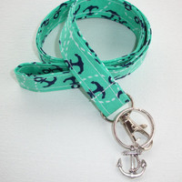 Fabric Lanyard  ID Badge Holder - Lobster clasp, CHARM and key ring - mint, navy and white anchors - coworker gift for her under 10