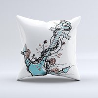 Blue Pastel Anchor with Roses ink-Fuzed Decorative Throw Pillow