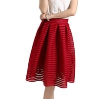 Hot Sale Summer Style 2016 New Spring Summer Midi Skirt Women Elegant Striped Hollow Out Ball Gown High Waist Tutu Skirts B819