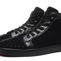 Christian Louboutin Lou Spikes Orlato  Men's Women's Flat Black Suede