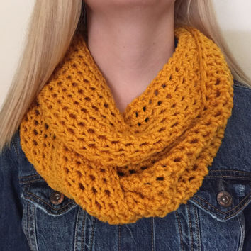 Chunky Infinity Scarf in Mustard Yellow, Thick Crochet Bulky Winter Scarf - Other colors available