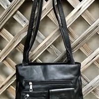 Black Genuine Pebbled Leather Stone Mountain Shoulder Bag Purse