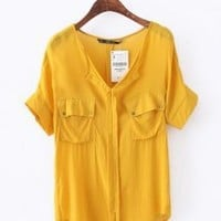 Dual Port V Neck Bat Chiffon Shirt Yellow - Designer Shoes|Bqueenshoes.com