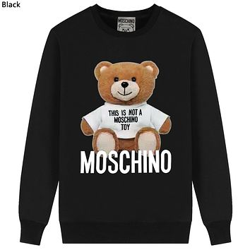 Moschino Tide brand bear print casual wild round neck sweater Black
