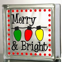 Merry and Bright Glass Block Decal Tile Mirrors DIY Decal for Glass Block