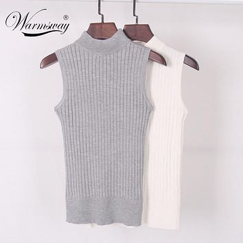 High Quality Summer Autumn Women Mock Neck Top Turtleneck Sleeveless T-shirt Slim Knitted Vest Female Tee Knitwear