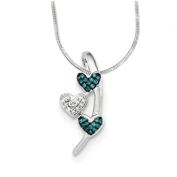 Blue & White Diamond Triple Heart Slide Necklace in Sterling Silver