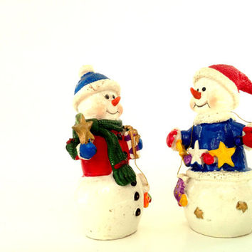 retro fosty snowman pair; vintage holiday figurine; Victorian shabby chic love giving x-mass snow man joy