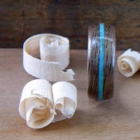 Walnut and Turquoise inlay Bentwood ring