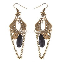 Vintage Bronze Clear Rhinestone&Black Waterdrop zircon Dangle Earrings at Online Cheap Fashion Jewelry Store Gofavor