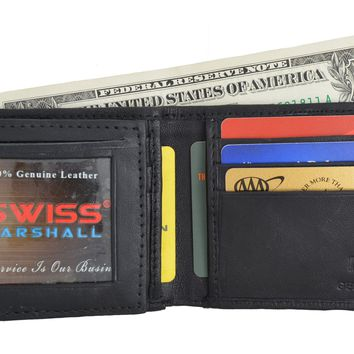 Men's Soft Genuine Leather Removable Double ID Window Flap Credit Card Money Holder Bifold Wallet by Swiss Marshal SW-P1143