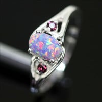 Sterling Silver and Purple Fire Opal Ring