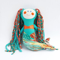 Mermaid  Doll, Rag Doll,Little Mermaid Doll,Stuffed doll,Handmade Textile Doll, Fabric Doll,Gift for Girl,Reg Doll