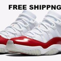 【FREE SHIPPING】AIR JORDAN 11 LOW (WHITE / VARSITY RED)  Basketball Sneaker  AJ11 528895-102