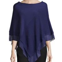 Halston Heritage Off-the-Shoulder Poncho W/ Georgette Trim