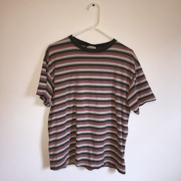 Vintage 90s Striped Tee, Men's Tee, Kurt Cobain Tee, 90s Grunge, Grunge Shirt, 90s Grunge Shirt, Striped Shirt, Size Large