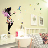 1pc Butterflies Girl Flower Wall Sticker For Kids Rooms Home Decor Backdrop Nursery Wall Decal Baby Bedroom Vinyl Walls Stickers