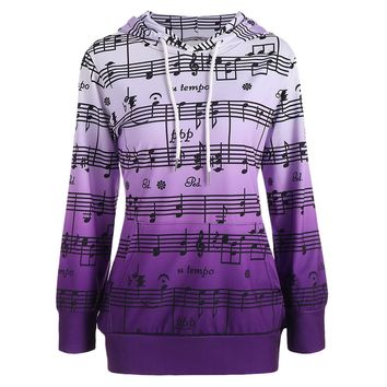 ZAFUL Women Hoodies Sweatshirts Casual Musical Notes Print Pullovers New European Ombre Musical Notes Print Kangaroo Hoodies