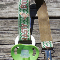 Duck Dynasty  Pacifier Holder, Binky Clip, Pacifier Clip or Toy Clip, Green Chevron stipe