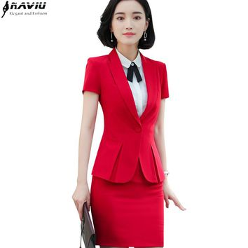 Summer slim fashion work wear women skirt suit business formal office ladies plus size short sleeve blazers with skirt uniform